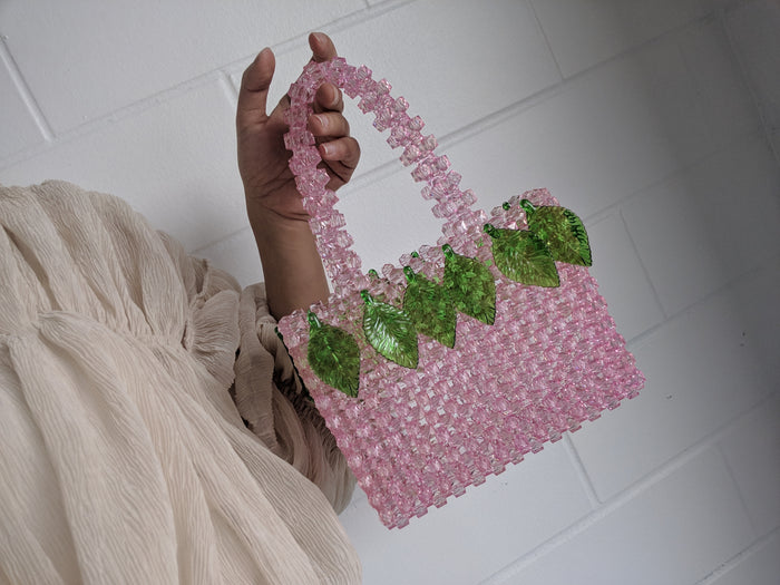 Leaf Embellished Mini Pink Beaded Bag