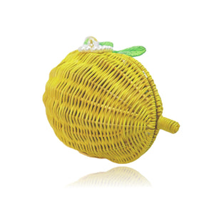 Goldenrod Pearl Handle Wicker Lemon Bag