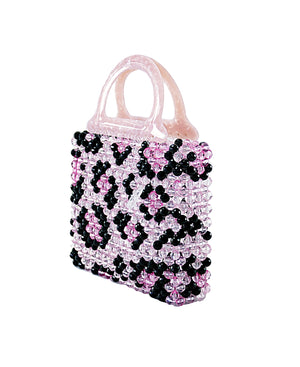 Leopard Mini Beaded Bag Pink-Handbags & Purses - MILANBLOCKS