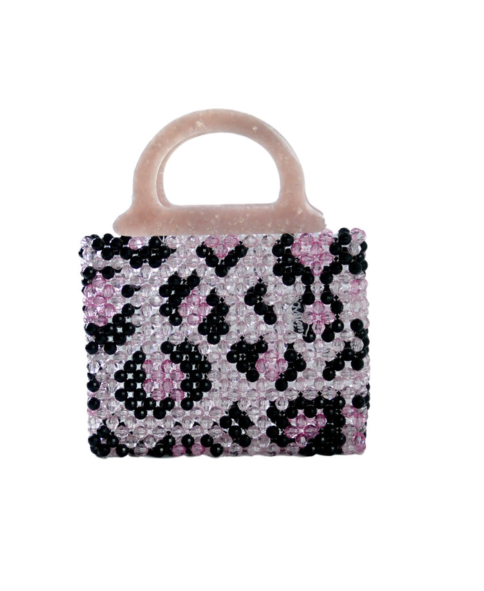 Leopard Mini Beaded Bag Pink