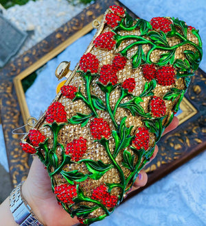 Flower Rhinestone Crystal evening wedding clutch