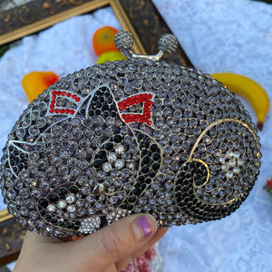 Cat lover crystal rhines evening clutch bag