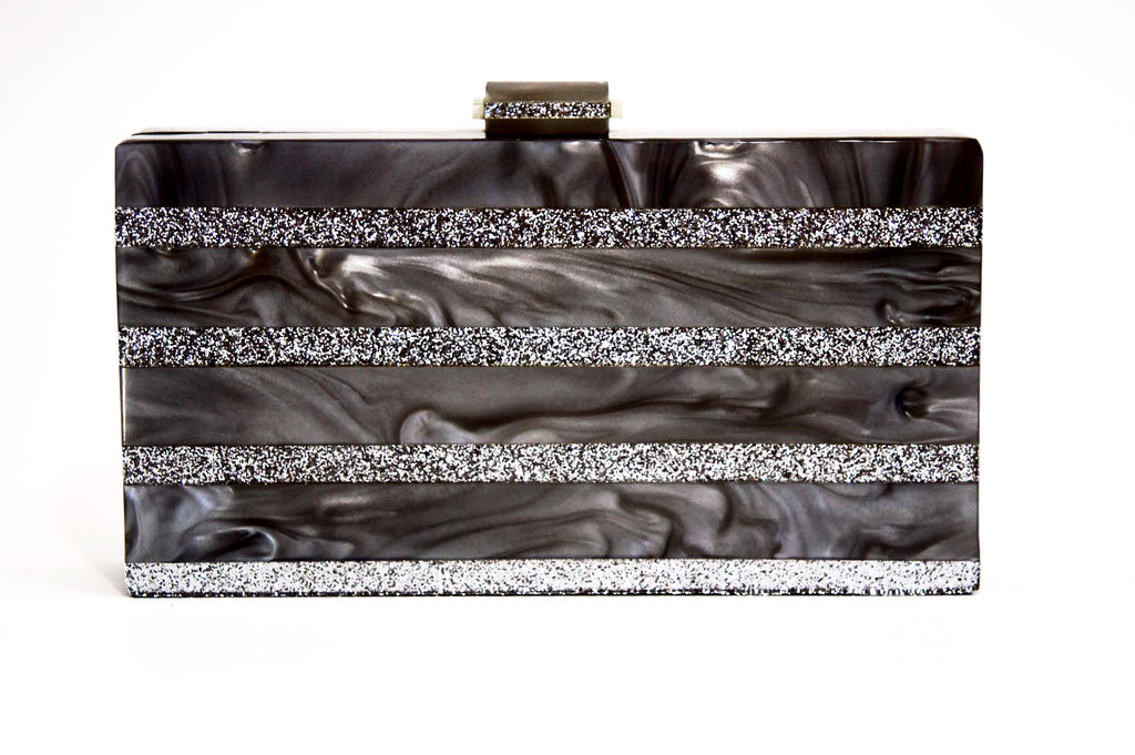 Marble Silver Stripe Box Clutch-Handbags & Purses - MILANBLOCKS