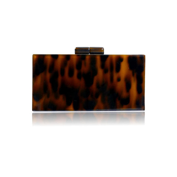 Milanblocks Brown Tortoise Acrylic Box Clutch Bag
