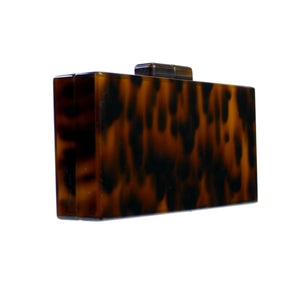 Milanblocks Brown Tortoise Acrylic Box Clutch Bag-Handbags & Purses - MILANBLOCKS