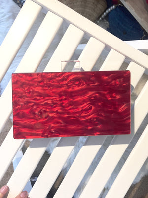 Milanblocks Burgundy Mother of Pearl Lucite Box Clutch-Handbags & Purses - MILANBLOCKS
