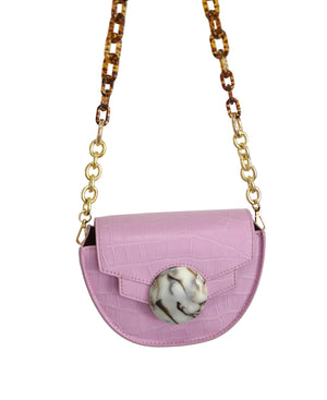Mini Italian Leather Pink Saddle Bag-Handbags & Purses - MILANBLOCKS