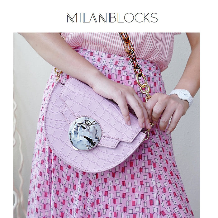 Mini Italian Leather Pink Saddle Bag