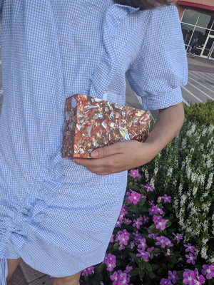 Orange Confetti Acrylic Box Clutch-Handbags & Purses - MILANBLOCKS