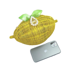Goldenrod Lemon Straw Vintage Crossbody Bag