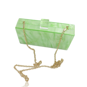Dark Sea Green Green Mother Of pearl acrylic clutch with fruit chain