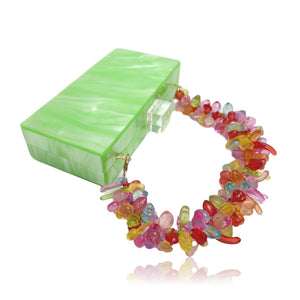 Green Mother Of pearl acrylic clutch with fruit chain