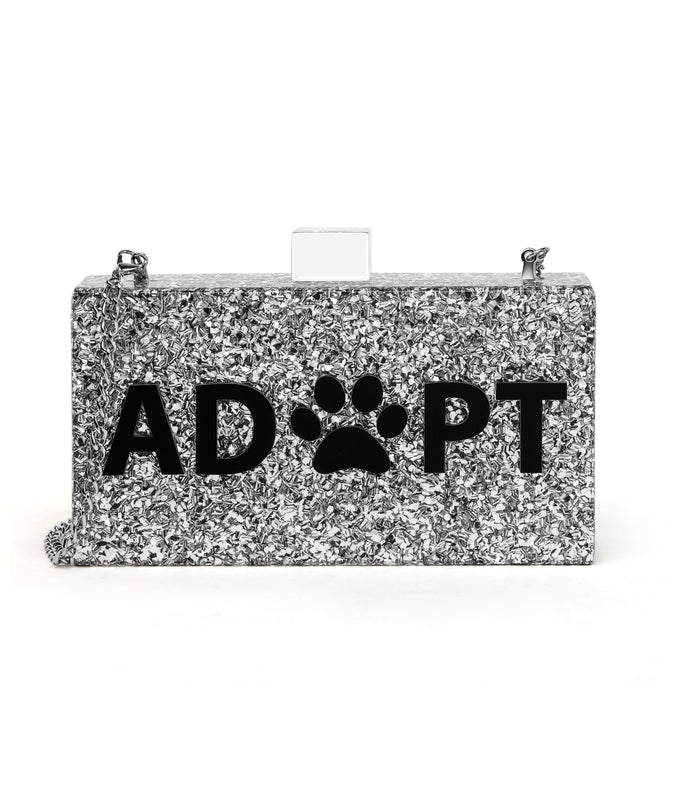 Paw animal print silver glitter bag