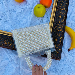 Pearl Beaded Top Handle Acrylic Clutch Bag
