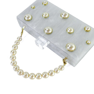 Pearl Embellished White Acrylic Clutch with Pearl Top Handle-Handbags & Purses - MILANBLOCKS