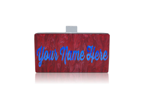 Personalized Name Acrylic Box Clutch-Medium Size