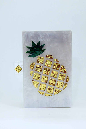Pineapple Lucite Box Clutch-Handbags & Purses - MILANBLOCKS