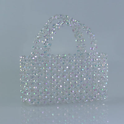 Rainbow Clear Beaded Tote Handbag-Handbags & Purses - MILANBLOCKS