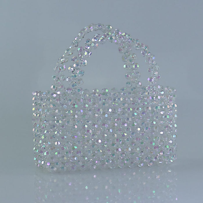 Rainbow Clear Beaded Tote Handbag