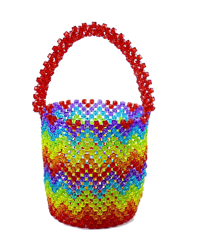 Rainbow Mini Beaded Bucket Bag