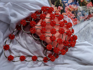 Red Vintage Loop Chain Handle Beaded Bag-Handbags & Purses - MILANBLOCKS