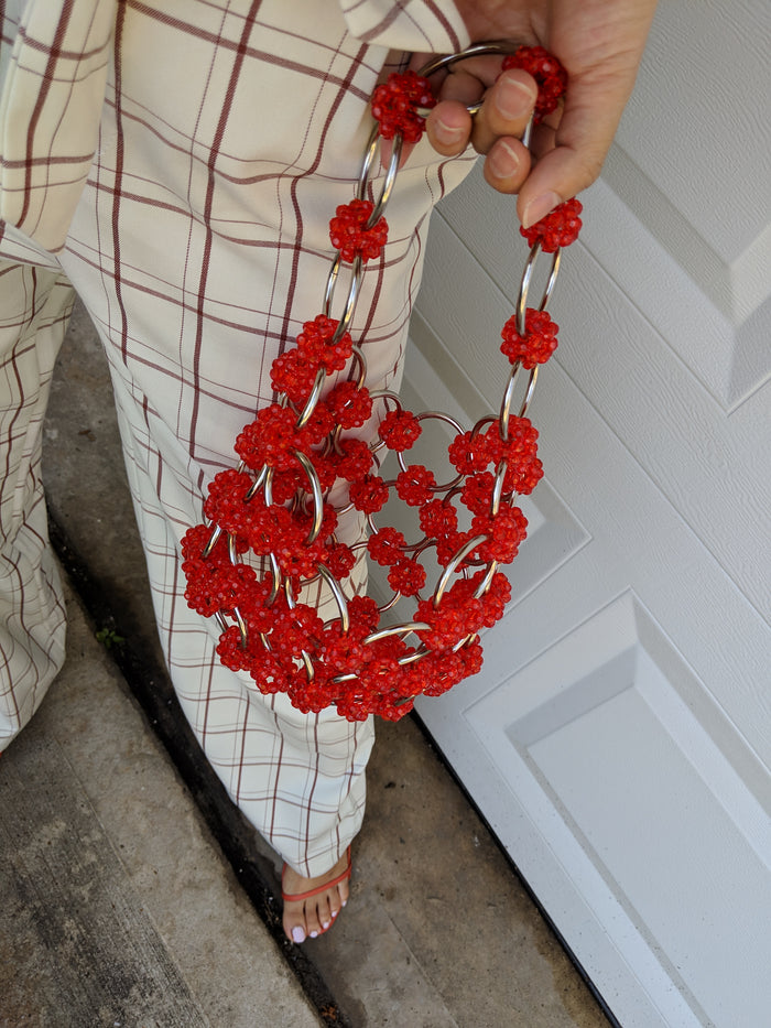 Red Vintage Loop Chain Handle Beaded Bag