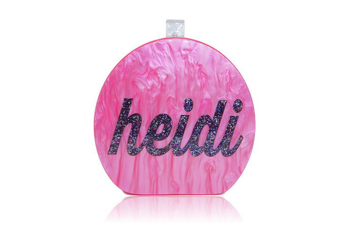 Round Acrylic Custom Name Clutch
