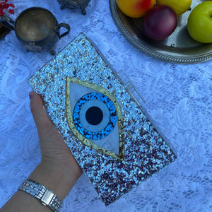 Silver Glitter Evil Eye Acrylic Box Clutch