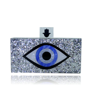 Silver Glitter Evil Eye Clutch-Handbags & Purses - MILANBLOCKS