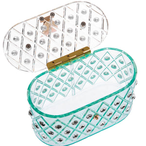 "1950 Vintage Style ""Spearmint Ice"" Crystal Acrylic Lucite Box Clutch Bag"