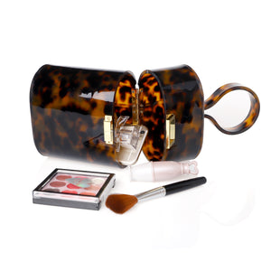 Top handle tortoise acrylic box clutch-Apparel & Accessories > Handbags, Wallets & Cases > Handbags - MILANBLOCKS