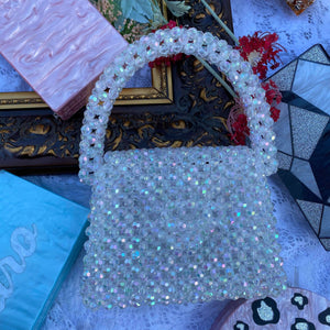 Top handle beaded bag purses