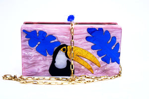 Tropical toucan perspex clutch-Handbags & Purses - MILANBLOCKS