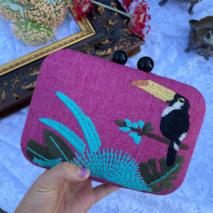 Tropical toucan embroidary box clutch