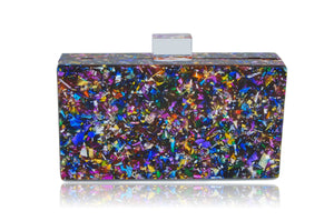 Vintage Confetti Acrylic Box Clutch-Milanblocks-Handbags & Purses - MILANBLOCKS