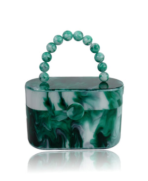Vintage Style Green Marble 80's Acrylic Lunch Box Clutch Bag-Handbags & Purses - MILANBLOCKS