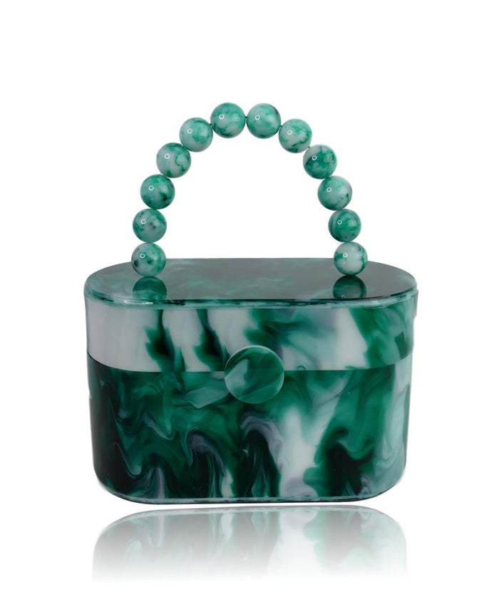 Vintage Style Green Marble 80's Acrylic Lunch Box Clutch Bag