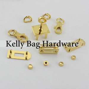Tan A SET OF All,Handbag Purse Bag Spring Hooks,Metal shoulder strap buckle, Link buckle, Handbag Snap,Full set of Kelly bag hardware and pattern
