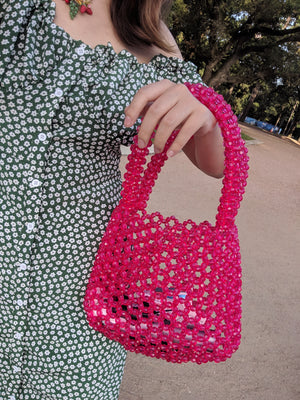 Pink Beaded Handbag Purse-Handbags & Purses - MILANBLOCKS