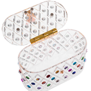 "1950 Vintage Style ""The Queen"" Rainbow Colorful Crystal Acrylic Lucite Box Clutch Bag"