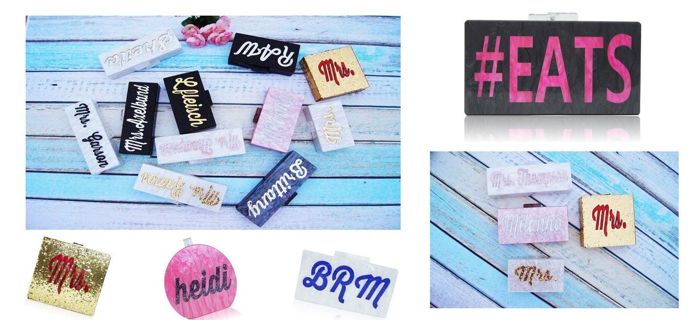 Personalized Nameplate Clutch, Acrylic, DIY Custom Handbag, Evening Clutch, 2015 Fashion Trend, Bridal Style, Prom Clutch