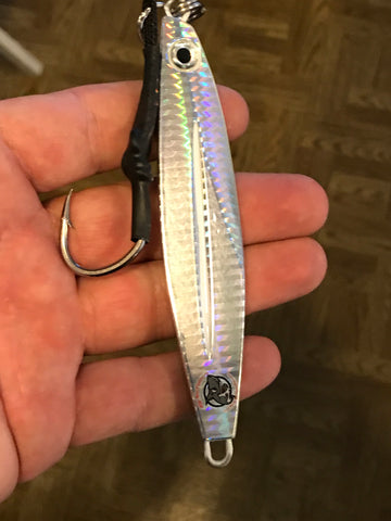 Big candy 6 oz  glass minnow shiny silver glow bellies