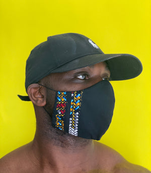 Black and African Print Customisable Cotton Face Mask