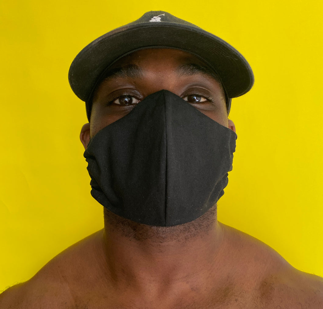 All Black Cotton Face Mask