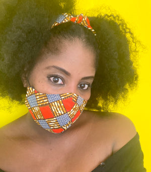 Reversible African Print Face Mask/Matching Head Tie