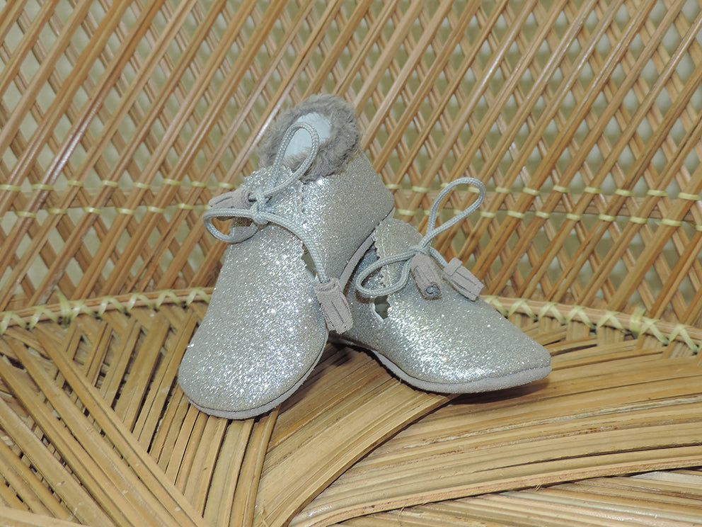 Silver Glitter Booties
