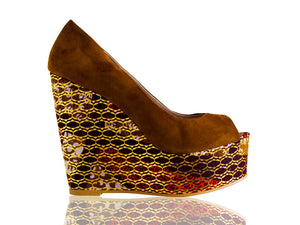 Monica- African print wedge heels