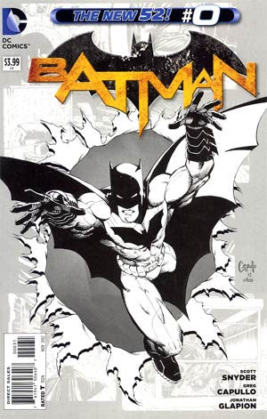Batman # 0, Sketch Variant , DC Comics New 52 , Capullo, Snyder   (2012)  NM  Movie Coming In 2016