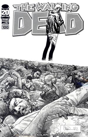 The Walking Dead # 100  Black & White Sketch Variant  NM /  DEATH OF GLENN ! 1st NEGAN