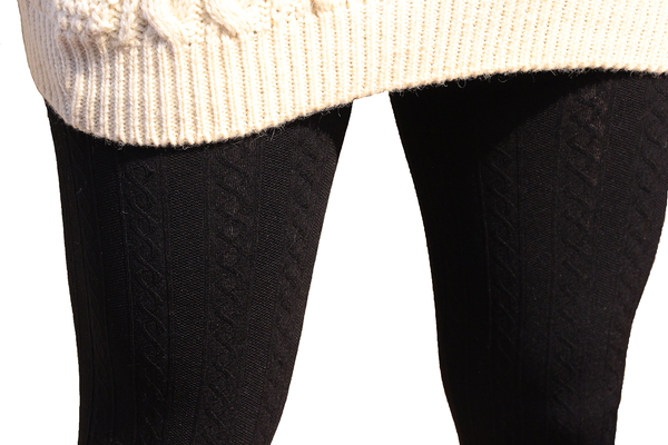 Black Cable Knit Fleece Lined Leggings